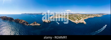 Spain, Baleares, Mallorca, Region Calvia, Aerial view of islas Malgrats and Santa Ponca - Stock Photo
