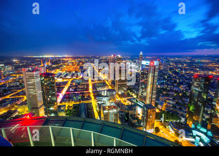 Germany, Hesse, Frankfurt, View from Maintower, city view, blue hour - Stock Photo