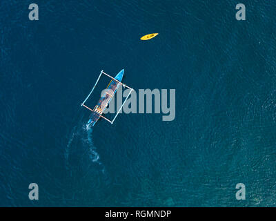 Indonesia, Bali, Amed, banca boat from above - Stock Photo