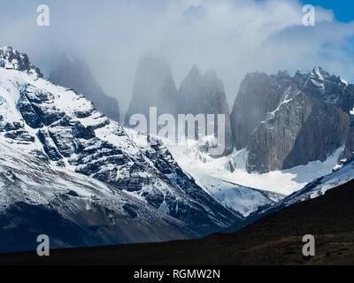 Chile, Patagonia, Magallanes y la Antartica Chilena Region, Torres del Paine National Park, Cerro Paine Grande and Cuernos del Paine - Stock Photo