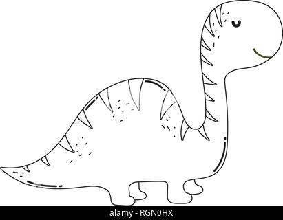 cute apatosaurus character icon - Stock Photo