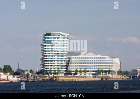 Marco Polo Tower, Unilever House, HafenCity, Hamburg, Germany, Europe - Stock Photo