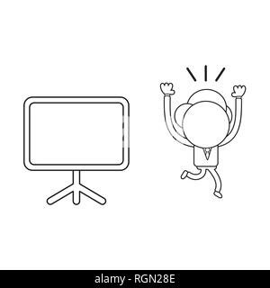Vector illustration businessman character running away from blank presentation chart. Black outline. - Stock Photo