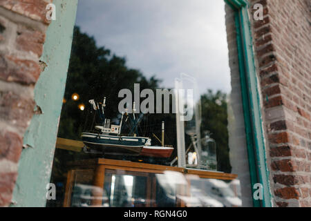 Belgium, Tongeren, model ship in shop window of an antique shop - Stock Photo