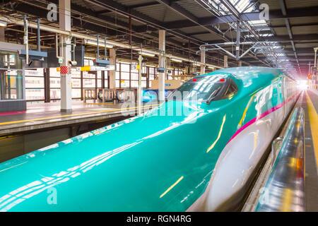 Iwate , Japan - April 22 2018: Japanese Shinkansen high speed train Hayabusa at Kitakami Station travel up north east of Japan from Tokyo - Stock Photo