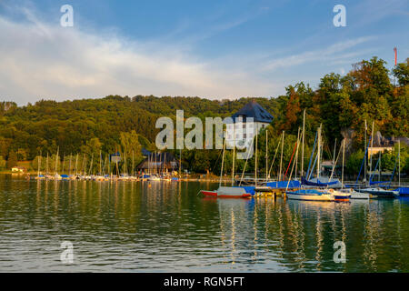 Austria, Land Salzburg, Flachgau, Mattsee, Mattsee Castle, view from lake - Stock Photo