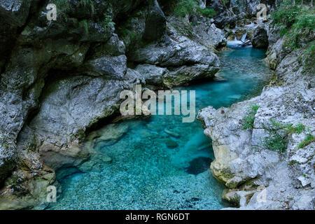 Slovenia, Tolmin, Triglav National Park, Tolmin Gorges - Stock Photo