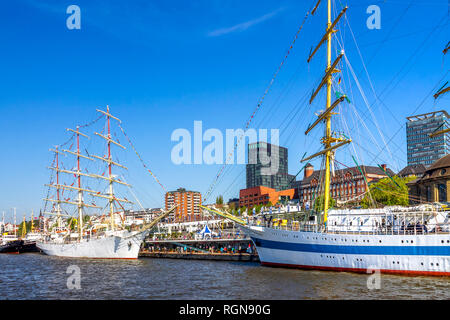 Germany, Hamburg, Sailing ships at the landing stages - Stock Photo