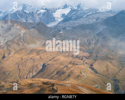 Border region Italy Switzerland, mountain landscape at Piz Umbrail