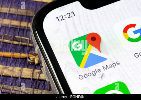 Sankt-Petersburg, Russia, December 5, 2018: Google Maps application icon on Apple iPhone X screen close-up. Google Maps icon. Google maps application. - Stock Photo