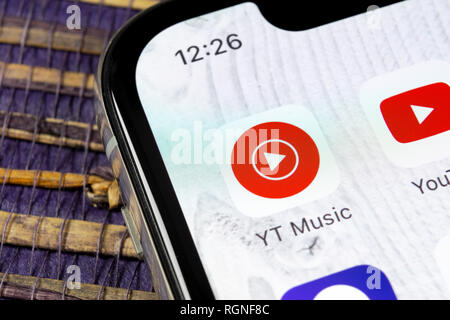 Sankt-Petersburg, Russia, December 5, 2018: YouTube Music application icon on Apple iPhone X smartphone screen close-up. Youtube music app icon. Socia - Stock Photo