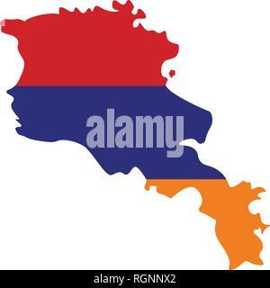 Map of Armenia with flag inside. Armenia map vector illustration - Stock Photo