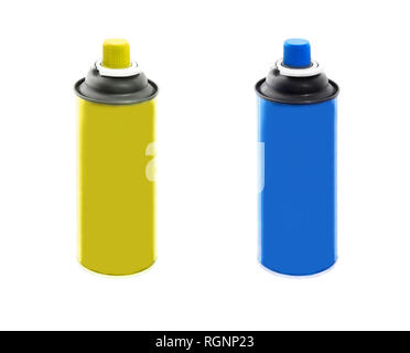Set of blue and yellow plastic containers isolated on white background - Stock Photo