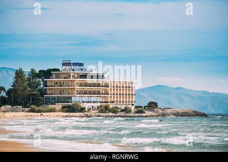 Terracina, Italy - October 15, 2018: Grand Hotel Lapprodo On Coast Of Tyrrhenian Sea - Stock Photo