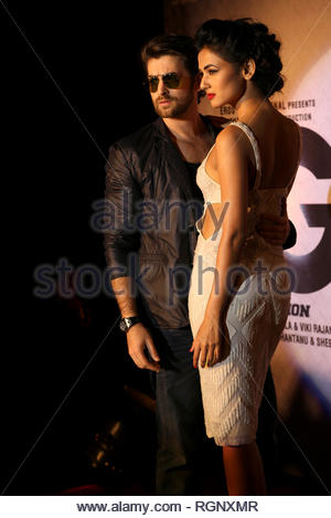 Bollywood actors Neil Nitin Mukesh and Sonal Chauhan during music and trailer launch of his horror film 3G in Mumbai, India on February 15, 2013. (Aakash Berde) - Stock Photo