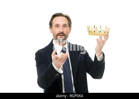 Keeper of the jewel. Achieving success in business. Business king. Mature businessman holding crown. Senior man representing power and triumph. King of style. Victory and success. Fit for a king. - Stock Photo
