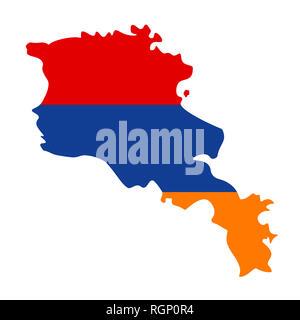 map of Armenia with flag inside. Armenia map  illustration - Stock Photo