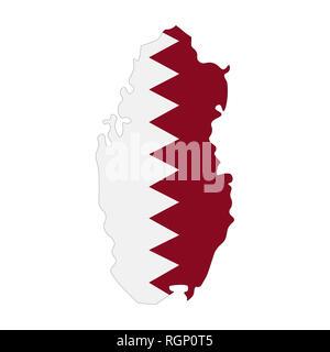 map of Qatar with flag inside. Qatar map  illustration - Stock Photo
