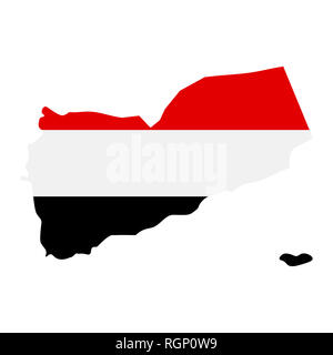map of Yemen with flag inside. Yemen map  illustration - Stock Photo