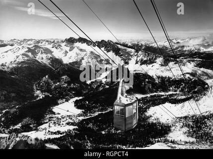 italy, trentino alto adige, san martino di castrozza, rosetta cableway, 1957 - Stock Photo