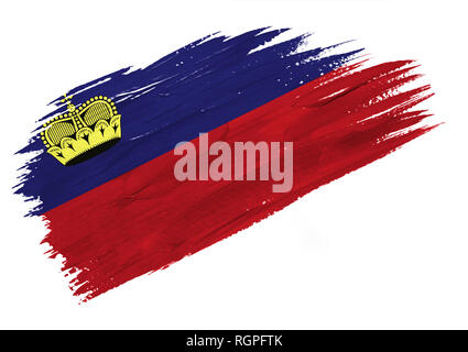 Brush painted Liechtenstein flag. Hand drawn style illustration - Stock Photo