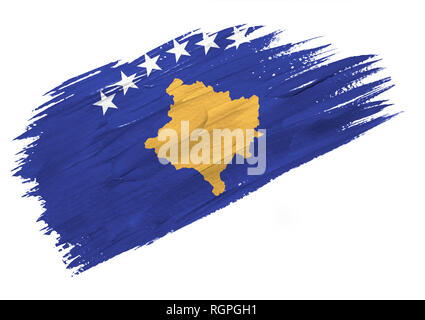 Brush painted Kosovo flag. Hand drawn style illustration - Stock Photo