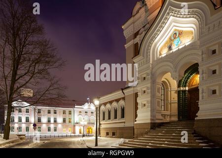 Entrance to Alexander Nevsky cathedral in Tallinn, Estonia. - Stock Photo