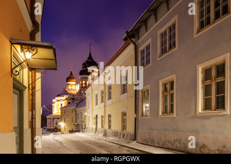 Winter dawn in Tallinn old town, Estonia. Alexander Nevsky cathedral in the distance. - Stock Photo