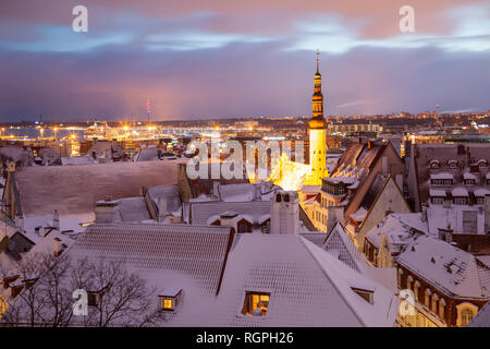 Winter dawn in Tallinn old town, Estonia. City hall towers above the city. - Stock Photo