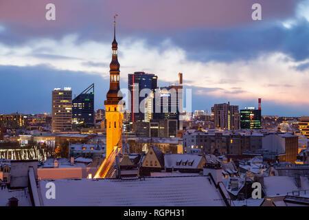 Winter dawn in Tallinn, Estonia. - Stock Photo
