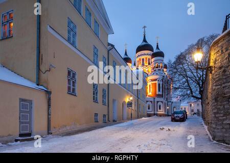 Winter dawn at Alexander Nevsky cathedral in Tallinn, Estonia. - Stock Photo