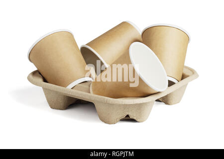 Empty Coffee Cups on Disposable Paper Tray on White Background - Stock Photo