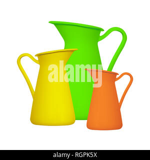 Storage for liquids - Green orange and yellow jug ewer on a white background. Isolated - Stock Photo