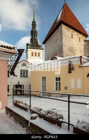 Winter in the old town of Tallinn, Estonia. - Stock Photo