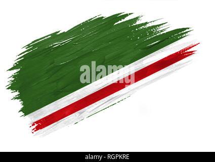 Brush painted Chechen Republic of Ichkeria flag. Hand drawn style illustration - Stock Photo