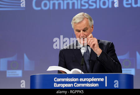 Michel Barnier, European Union's chief Brexit negotiator, attending a press conference on the last Brexit negotiations and the Withdrawal Agreement of - Stock Photo