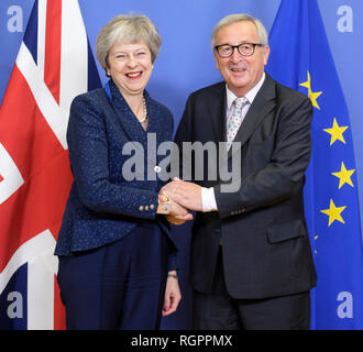 Belgium, Brussels, on 2018/11/25: Brexit EU summit with Theresa May, British Prime Minister, and Jean-Claude Juncker, President of the European Commis - Stock Photo