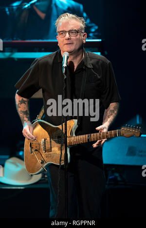 Singer Sanseverino on stage on the occasion of the Monte-Carlo Jazz Festival in Monaco, on 2018/11/23 - Stock Photo