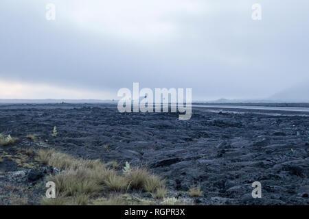 Saddle road crossing Pahoehoe lava field - Stock Photo
