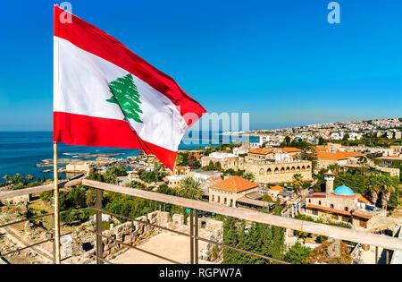 Flag of Lebanon at Byblos Castle