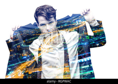 Double exposure effect of office man and panoramic modern city skyline. Business concept, information, communication, connection technology.