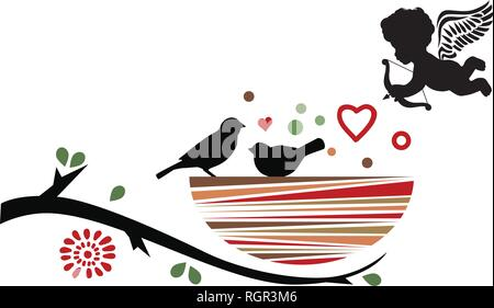 cupid and birds nest , Valentines day related vector icon - Stock Photo