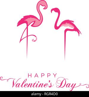 Pink flamingos.Valentine's day greeting - Stock Photo