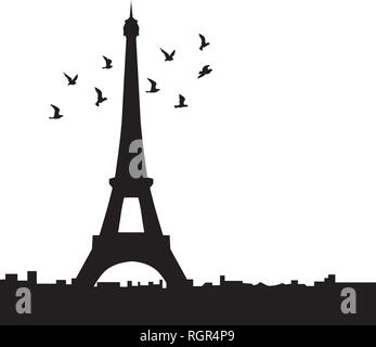 Eiffel tower with birds, vector - Stock Photo