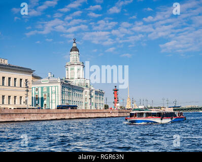 19 September 2018: St Petersburg, Russia - The Kunstkamera, or Kunstkammer Building which hosts the Peter the Great Museum of Anthropology and... - Stock Photo