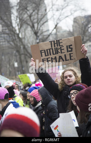 3rd annual Women's March in 2019 in New York City. - Stock Photo