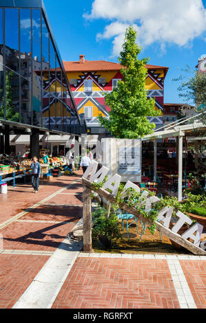 New bazar, Market stalls, Tirana, Albania - Stock Photo