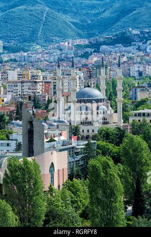 View over Tirana and new Mosque, Tirana, Albania - Stock Photo
