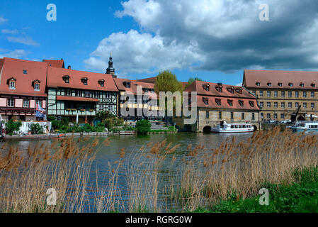 Altstadtviertel Klein Venedig am Regnitzufer, Bamberg, Oberfranken, Franken, Bayern, Deutschland, Europa - Stock Photo