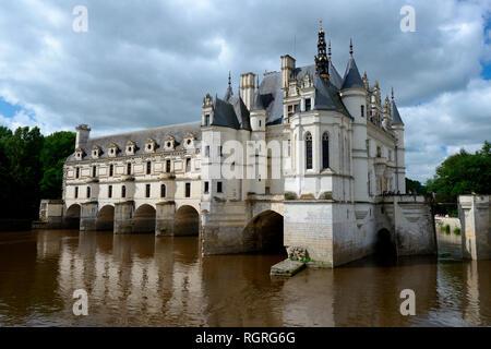 Schloss Chenonceau an der Cher, Chateau de Chenonceau, Department Chenonceaux, Indre-et-Loire, Region Centre, Frankreich, Europa - Stock Photo